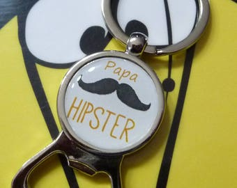 Keychain bottle opener mustache hipster dad father's day