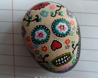 Magnet magnet Pebble depicting a calavera skull Mexican hand painted