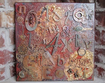 Steampunk Art Mixed Media Assemblage Letters Numbers Rusty Art Original Art OOAK B148