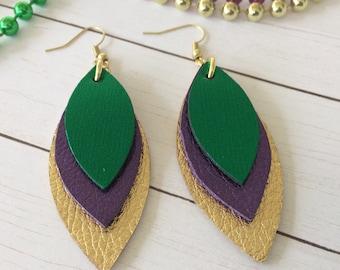 Mardi Gras leather earrings, green, purple and gold earrings