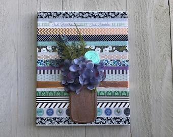 Mason Jar Canvas Wall Art, Mason Jar Decor, Canvas wall art decor, Nursery Wall decor, Washi tape art, Wood Wall decor, Gift Ideas