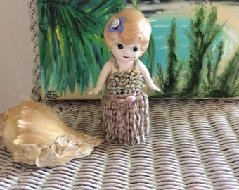 Antique Bisque Flapper Doll, Reinvented to Hawaiian Flapper Hula Girl