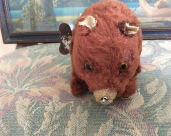 Vintage Key Wind Walking and  Head Tossing Bear, 1940's Occupued Japan, Works Great!