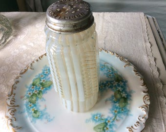 Antique Opalescent and Clear Ribbed Striped Large Condiment Shaker, 19th C.