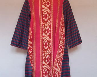 Long Dress Vintage IKAT Handwoven in Pink