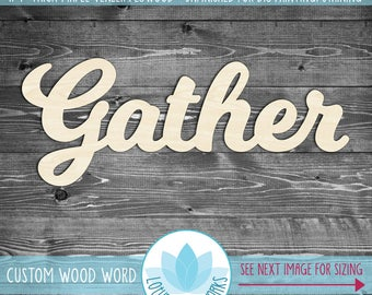 "Large Wood Gather Sign, Wooden Word Home Decor, Laser Cut Wood ""Gather"" Sign, Gallery Wall Word Art"