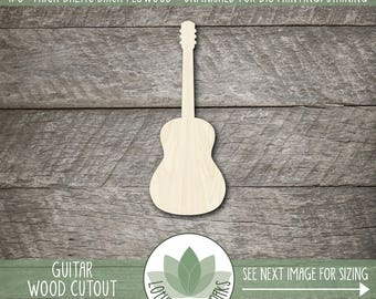 Guitar Wood Shape, Unfinished Wood Guitar Laser Cut Shape, Guitar DIY Craft Supply, Many Size Options
