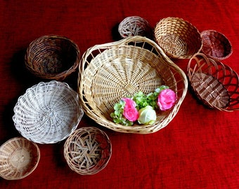 Vintage Boho  Basket Collection , Basket Wall Art , Vintage Baskets and Trivets
