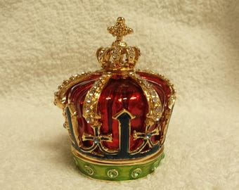 Crown Jeweled Hinged Trinket Box