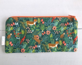 Tiger Pencil Pouch | Rifle Paper Company | Zipper Pouch | Jungle Print | Gift for Girlfriend | Diaper Bag Organization