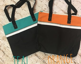 Monogrammed Tote Bag - Two Tone -