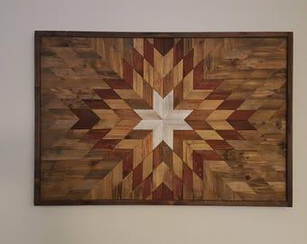 Wood wall decor, barn wood decor, farmhouse decor,  geometric decor, navajo decor, Reclaimed wood wall art, barn quilt