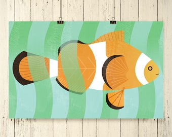 Clown fish art, clown fish art print, clown fish artwork, clown fish, marine life art, oceanic art, fish art, fish artwork, clown fish print