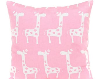 SALE ENDS SOON Giraffe Pillow Cover, Pink and White Giraffe Throw Pillow, Pink Nursery Decor, Girls Room Pillows, Soft Cotton Fabric, 16x16,