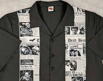 Zombie, Creepy, Horror, Scary, Newspaper, Tabloid, Bowling Shirt, Small to 2XL