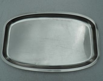 Serving Tray - 18/8 Stainless Steel - Made in Denmark - Vintage Stainless Steel