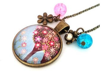 Cabochon tree of life necklace - spring - bronze