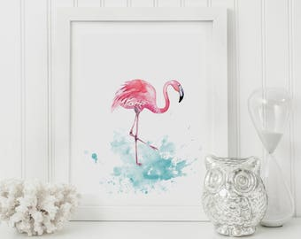 Flamingo Print, Watercolour Flamingo Art, Flamingo Wall Art, Flamingo Nursery Art, Flamingo Nursery Decor, Flamingo Gift, Housewarming Gift