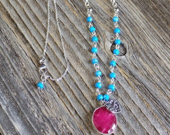 Ruby Pendant Necklace With Blue Howlite, Silver Heart Charm, Sterling Silver Chain and Clasp