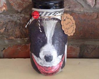 Border Collie, Mason Jar money bank, savings jar, piggy bank, Shabby chic, vintage,