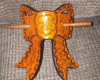 Handmade leather bow hair stick