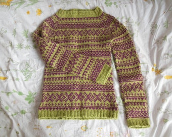 Norwegian Sweater Hand Knitted Wool Sweater Hand Knitting