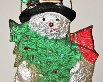 Vintage Snowman ornament-Hard plastic Vintage ornament-Snowman and Christmas tree-Old ornaments-Old fashioned Christmas-Holiday decor