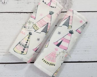 Baby car seat strap Cover-Tribal car seat neck strap-stroller seat straps-reversible seat strap-infant car seat strap-Teepee car seat strap