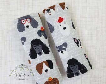 Baby Car seat strap Cover Dog Pet Puppy-car seat neck strap-stroller seat straps-reversible car seat strap-infant grey gray car seat strap
