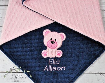 Baby Blanket Personalized Minky-Teddy Bear baby blanket-Bear Minky blanket- Girl Minky Teddy Bear Blanket-Bear Girl Blanket-Bear Nursery