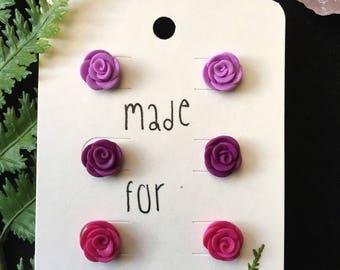 Shades of Purple Rose Bud Earrings