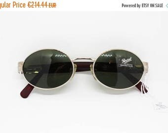 SALE 15% Rare PERSOL mod 2041 S full oval lenses silver matte frame with red arms , Sunglasses persol spectacles Persol, Vintage Nos 80s
