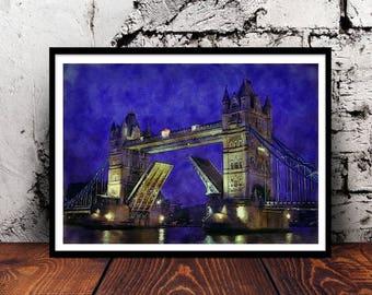 London Tower Bridge A4 watercolour watercolor wall art home decor print London bridge Thames England English Britain British United Kingdom