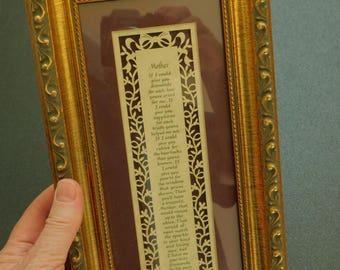 Vintage Mother Sentimental Inspirational Poem Framed Under Glass, Framed Print, Keepsake for Mother, Framed Mother Poem, Inspirational Decor