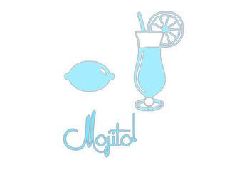 set of 3 cuts drinks mojito for scrapbooking card making...