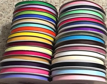 3/8 Solid Grosgrain ribbon, 50 yards/roll ribbon, Grosgrain Ribbon for Crafts Choose your Color