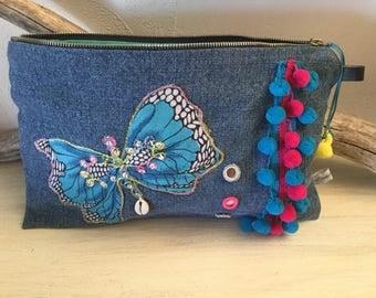 Blue butterfly linen pouch