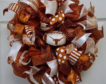 Longhorn Wreath-Mini, Texas Longhorn Wreath-Mini, Texas Wreath-Mini, UT Wreath-Mini, University of Texas Wreath-Mini, Texas Longhorns Wreath