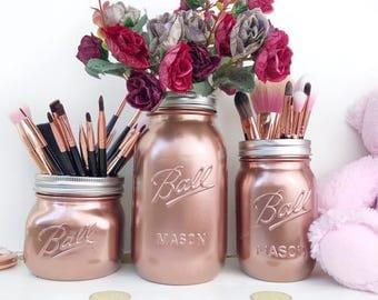 Rose Gold Decor, Copper Mason Jar, makeup brush holder, rose desk accessories, rose gold baby shower, makeup organizer, rose gold party,