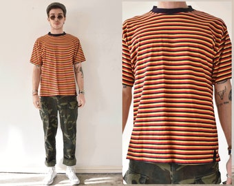 Striped Fitted Crew Neck Grungy 90s Tshirt