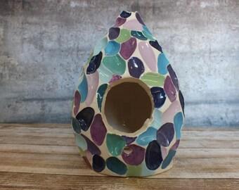 Carved Ceramic Birdhouse