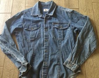Calvin Klein - Vtg 90s Womens LS Blue Jean Denim Button-up Shirt, Medium