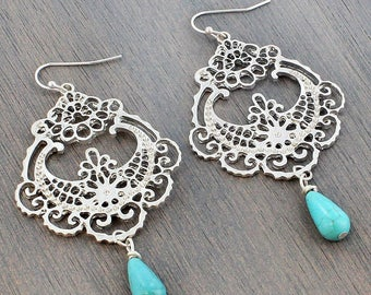 Worn Silvertone and Turquoise Filigree Chandelier Earrings