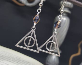 Earrings Resurrection Stone - sorcerer - stone - relics - death - triangle - book