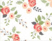 """End of Bolt, Nest Floral Bloom in Eggshell from the Nest Collection by Lella Boutique for Moda, 9""""x44"""""""
