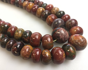 Natural Smooth Picasso Jasper Graduated Rondelle Loose Beads 15.5 Inch Per Strand Size 6-16mm. GEM-180118-03