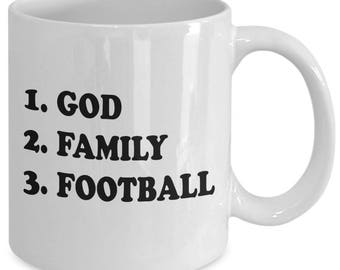 GOD FAMILY FOOTBALL - Football Fan Mug - Christian Gifts - 11 oz white coffee tea cup
