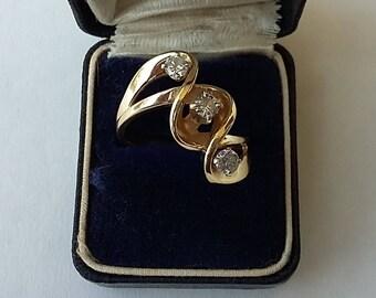 Vintage 14K Gold Ring 3- 1/4 Carat Diamonds Set on Diagonal  Swirling Double Shank