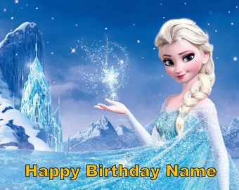 Frozen Queen Elsa Edible Image Cake Topper Personalized Birthday 1/4 Sheet