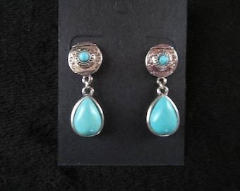 ethnic earrings with drop turquoise